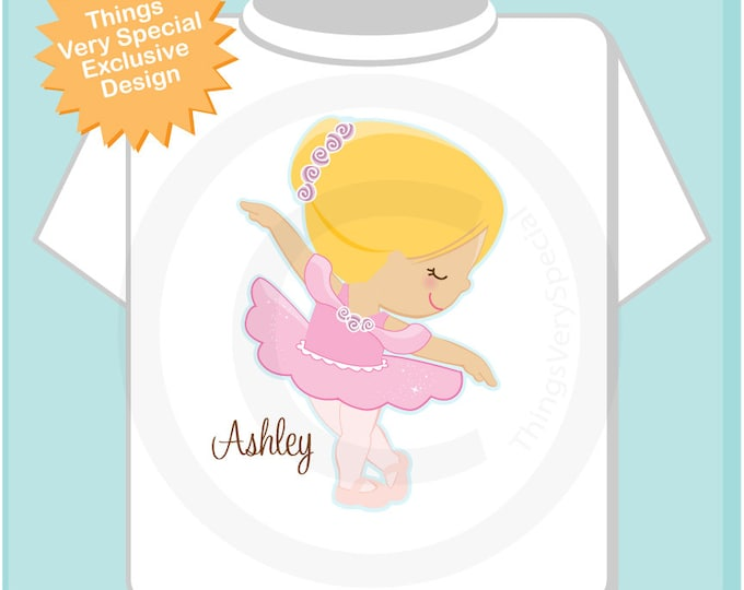 Personalized Ballerina Tee shirt  or Onesie wearing a pink tutu.