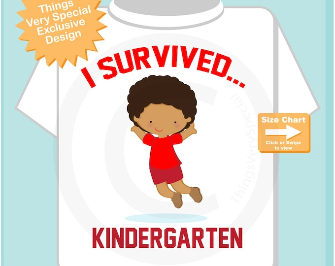 Personalized I Survived Kindergarten Shirt Kindergarten Graduate Shirt Child's Back To School Shirt (05272014b)