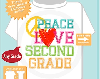 2nd Grade Shirt, Peace Love Second Grade Shirt, Colorful Second Grade Shirt Child's Back To School Shirt 07202015n