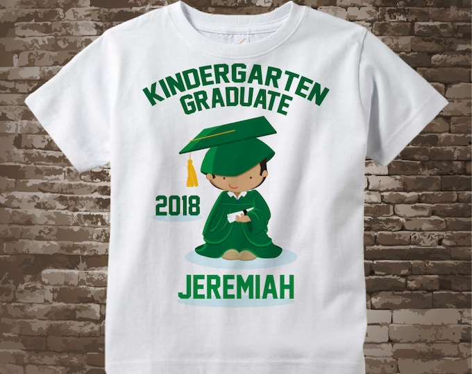Personalized Kindergarten Graduate Shirt Kindergarten Graduation Shirt Child's Graduation Shirt Brown boy with Black Hair 05192017a