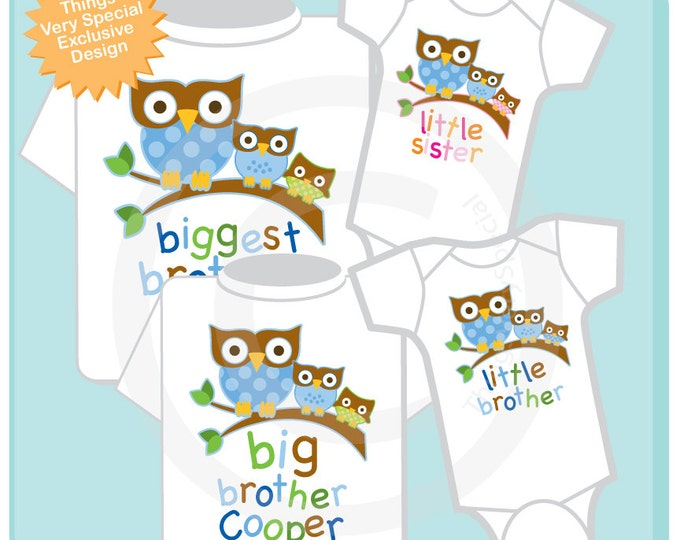 Set of Four Two Big Brothers and One Of Each Sex Baby Owls on Tee shirts or Onesies.