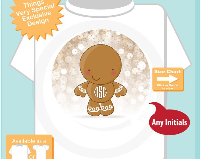 Monogram Shirt, Gingerbread Man, Monogram Personalized Tee Shirt or Infant Onesie, Monogram Christmas tee 11022016d