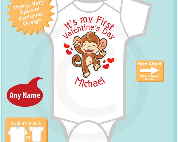 Boys First Valentine's Day Personalized Bodysuit - 1st Valentine Monkey Shirt - Personalized Valentines Shirt - Heart tshirt Kids 01252016b