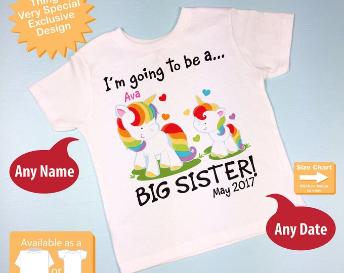 Personalized I'm Going to Be A Big Sister Unicorn Shirt or Onesie with name and date with Little Baby Unicorn (08212013a)