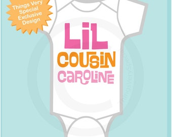 Little Cousin Onesie or Shirt, Personalized Little Cousin Shirt, Infant, Toddler or  Youth sizes t-shirt (06142012d)