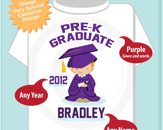 Personalized Pre-Kindergarten Pre-K Graduate Shirt Graduation Shirt Child's Back To School Shirt or Onesie (05212012e)