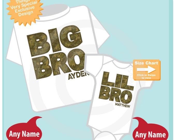 Set of Two Big Brother and Lil Little Brother Shirt Personalized Infant, Camouflage Toddler or Youth Tee Shirt or Onesie (12032014a)