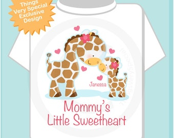 Girls Valentine's Day Personalized Mommy's Little Sweetheart Giraffe Shirt or Onesie 02272013b