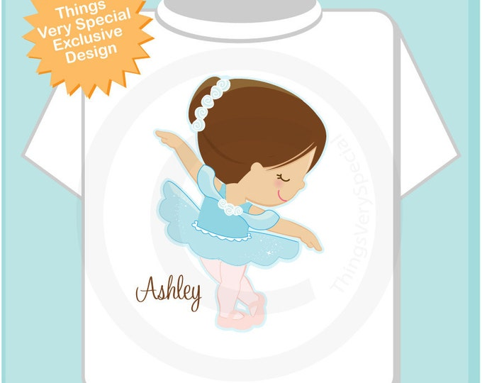 Personalized Ballerina Tee shirt  or Onesie wearing a blue tutu. (05222012e)