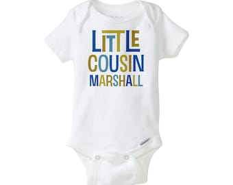 Little Cousin Onesie, Personalized, Little Cousin Bodysuit, Blue and Olive Green Text, Little Cousin Gift for boy,  - (03032014c)