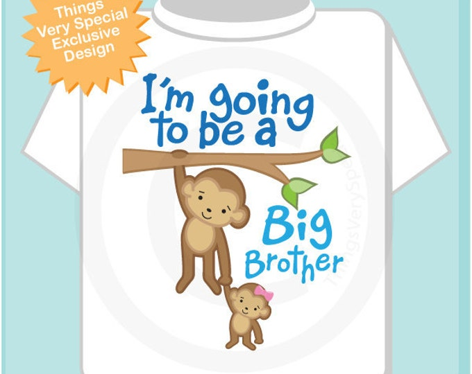 I'm Going to Be A Big Brother Shirt, Big Brother Onesie, Big Brother Monkey Shirt with Little Sister Monkey (02182014e)