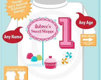 Girl's 1st birthday Sweet Shoppe Birthday Tee or Onesie, perfect for that sweet shop candy themed birthday party. 08032015j
