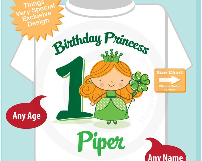 1st Birthday Personalized Irish Princess Tee Shirt or Onesie, any age, name  or hair color (02202015b)