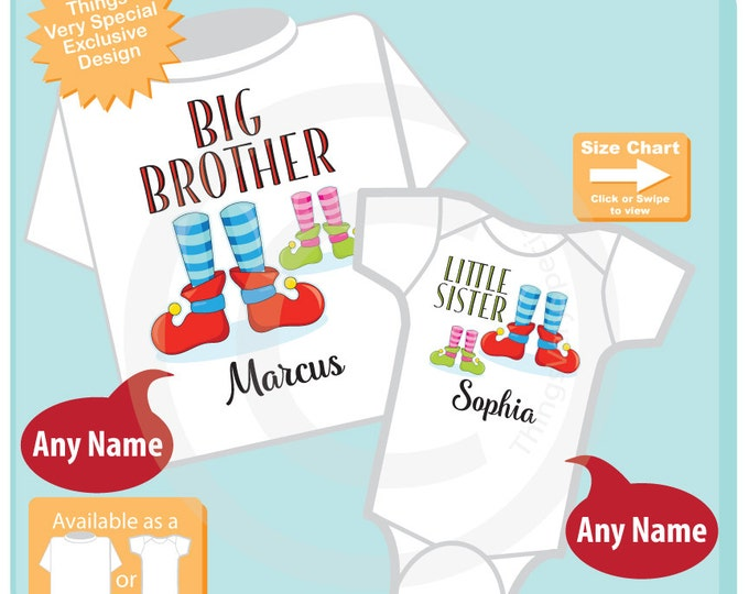Set of Two - Kids Christmas outfits for Big Brother and Little Sister - T-Shirt or Onesie, Price is for Both 11032016e
