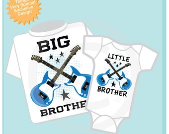 Set of Two Big Brother and Little Brother Guitar Rocker Tee shirt or Onesie. (11112013b)