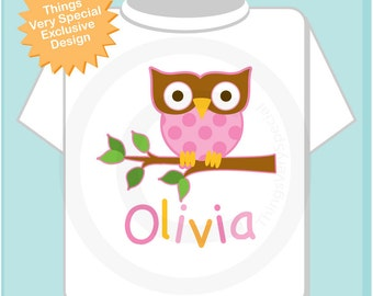 Personalized Girl Owl Shirt or Onesie with Child's Name (02182015b)
