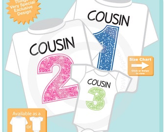 Set of 3, Cousin 1, Cousin 2 and Cousin 3 Tee Shirt or Onesie Pregnancy Announcement (08112015a)