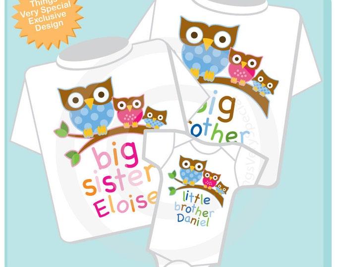 Set of Three Big Brother Owl Shirt, Big Sister Owl Shirt, and Little Brother Shirt Set Personalized Owl Tee Shirt or Onesie