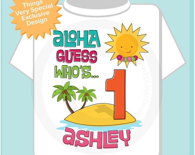 Hawaiian Luau First Birthday Onesie, 1st Birthday Shirt, Personalized Girls Birthday Onesie, Age and Name Tee or Infant Onesie for kids