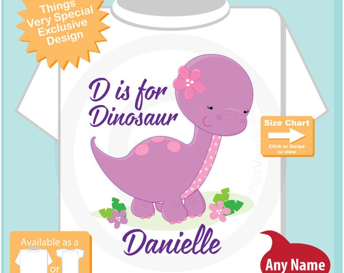 D is for Dinosaur, Girl's Purple Dinosaur Outfit top, Personalized Dinosaur tee shirt or Onesie Bodysuit 03222016h