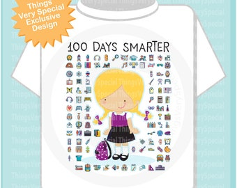 100 days of school shirt for girls, 100th day of school shirt, Girl's 100th day shirt, 100 days smarter cotton t-shirt 01032018b