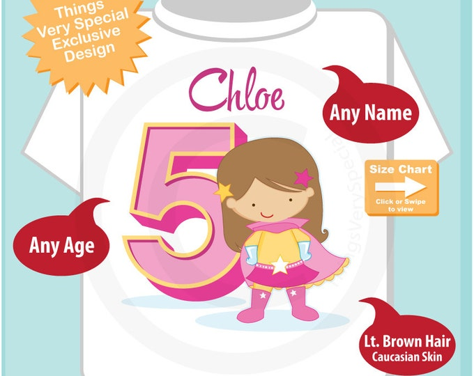 Girl's Personalized Superhero 5th Birthday Tee Shirt with light brown hair and caucasian skin 03162016i