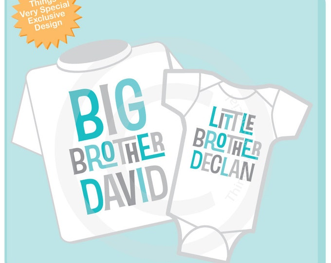 Big Brother Little Brother Shirt set of 2, Sibling Shirt, Personalized Tshirt with Aqua and Grey Letters - Price is for both 02252016a