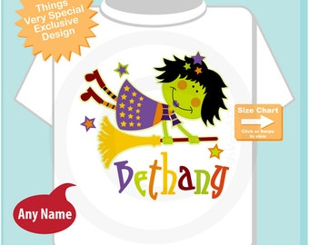 Halloween Shirt or Onesie, Witch Shirt, Cute Witch Shirt, Personalized Halloween Shirt with name. 09222010a