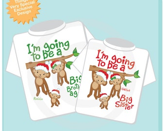 Christmas Theme I'm Going to Be A Big Brother Again, Big Sister Shirt set of 2, Sibling Shirt, Personalized Tshirt with Cute Monkeys