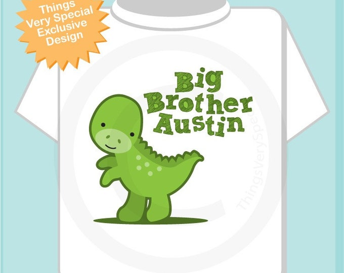 Boy's Personalized Big Brother Dinosaur Tee Shirt or Onesie