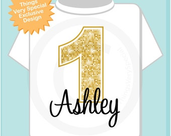 Personalized Children's First 1st Golden Birthday Onesie or Tee Shirt 08312012az