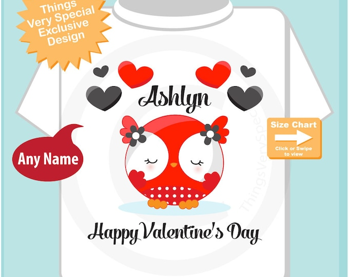 Heart tshirt kids Happy Valentine's Day Personalized Onesie Bodysuit or Tee Shirt, Personalized with your child's name cute owl (12302014a)