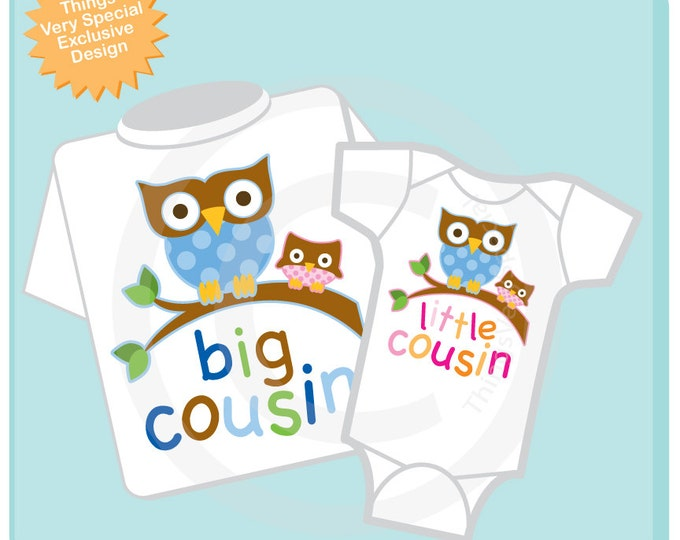 Set of Two Big Cousin Owl Shirt, and Little Cousin Owl Onesie or Shirt Set Personalized Owl Tee Shirt or Onesie Set of Two (07052012a)