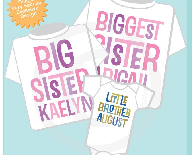 Set of Three, Biggest Sister, Big Sister Shirt, and Little Brother Shirt or Onesie Set, Personalized Pregnancy Announcement (02272014d)