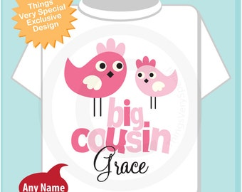 Big Cousin Shirt, Personalized Big Cousin Onesie or Tshirt with Cute Pink Birdies (06132011a)