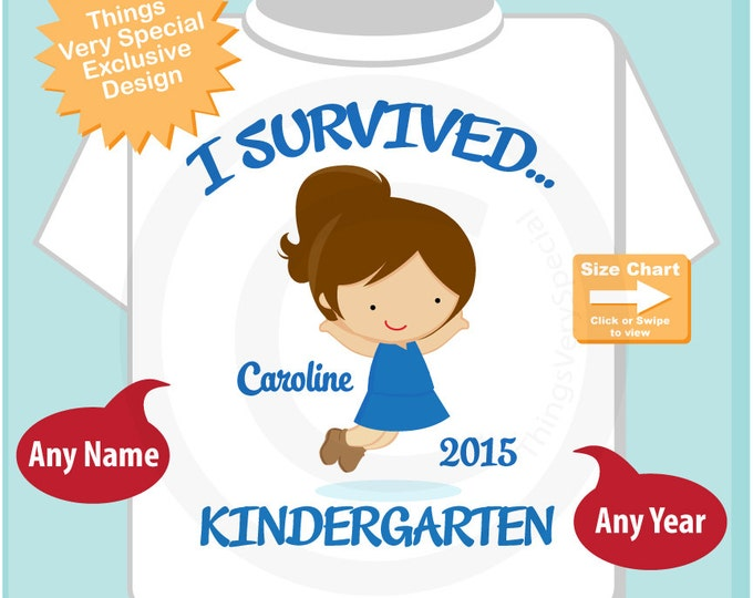 Personalized I Survived Kindergarten Shirt, Kindergarten Graduate Shirt, Child's Graduation Shirt (06062014c)