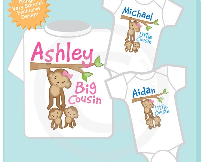 Set of three Cousin Monkey Shirt and twin Onesies, Big Cousin and Twin Baby Boy Cousins,  Personalized Pregnancy Announcement