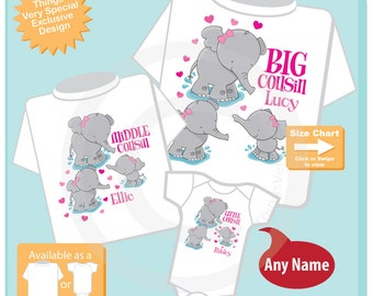 Set of Three, Big Cousin, Middle Cousin and Little Cousin Elephant Shirts and Onesie Personalized with your child's name 07032018a