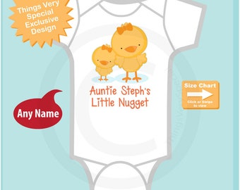 Personalized Cute little chicken nugget Onesie Bodysuit or Tee Shirt, Says Auntie (your name's) Little Nugget. 08242018d