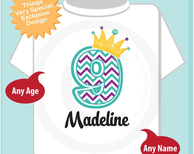 Ninth Birthday Shirt, Turquoise Chevron 9 Birthday Shirt, Any Age Personalized Girls Birthday Shirt Outfit top 07102018b