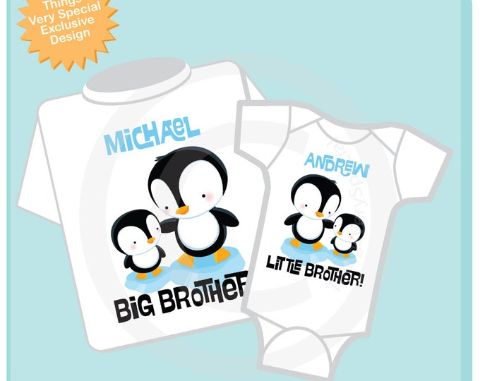 Big Brother Little Brother Shirt set of 2, Sibling Shirt, Personalized Tshirt with Cute Penguins (07202012b)