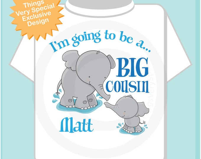 Elephant Big Cousin Shirt I'm going to Be a Big Cousin Elephant Tee Shirt or Big Cousin Onesie Pregnancy Announcement (03182012d)