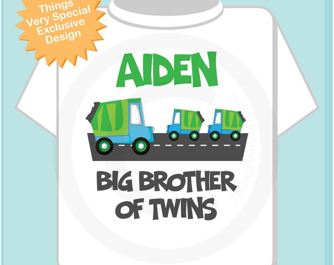 Big Brother of Twins Garbage Truck TShirt or Onesie - Personalized Garbage Truck Big Brother Shirt - Big Brother of Twins Shirt (09052013b)
