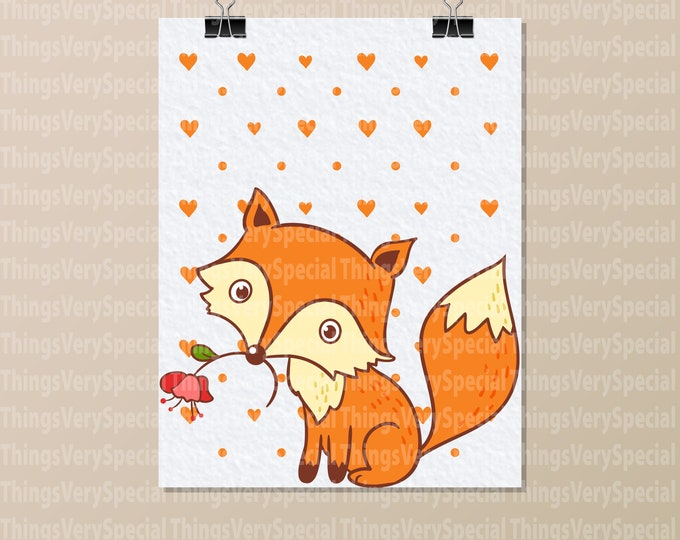 "Fox Art Print, Children's Room Art Prints, Cute Fox Art Print. 8.5"" x 11"" Art Print for Children's Room. 09242019l"