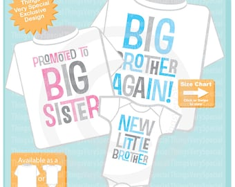 Set of Three,  Big Brother Again Shirt, Promoted to Big Sister Shirt and New Little Brother Onesie, Pregnancy Announcement 06242019c