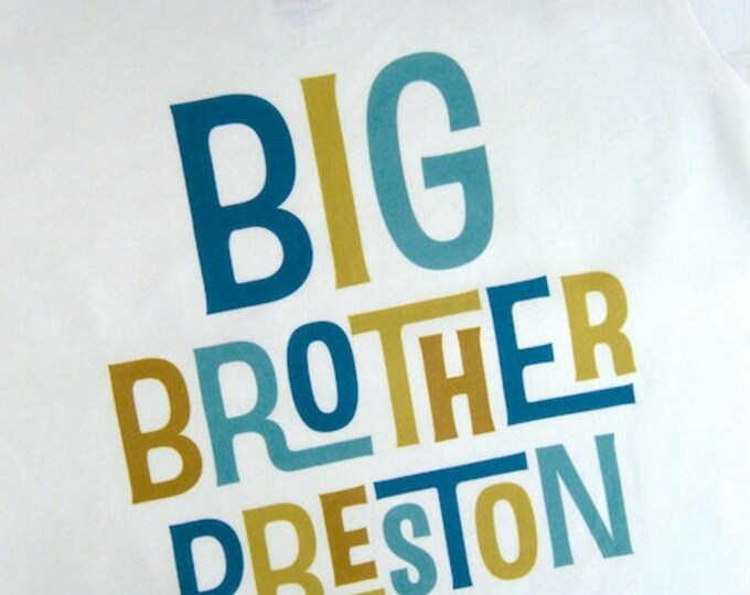 Personalized Big Brother Tshirt, Infant, Toddler or Youth sizes or Onesies (12172013b)
