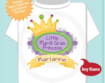Mardi Gras Princess Shirt, Personalized Princess Shirt or Onesie, Princess Shirt for Toddlers and Kids (02072012a)