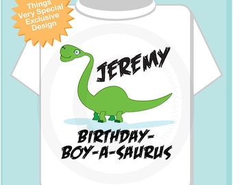 Dinosaur Birthday Shirt, Personalized Dino Birthday Shirt or Onesie with Child's Name (12092011b)