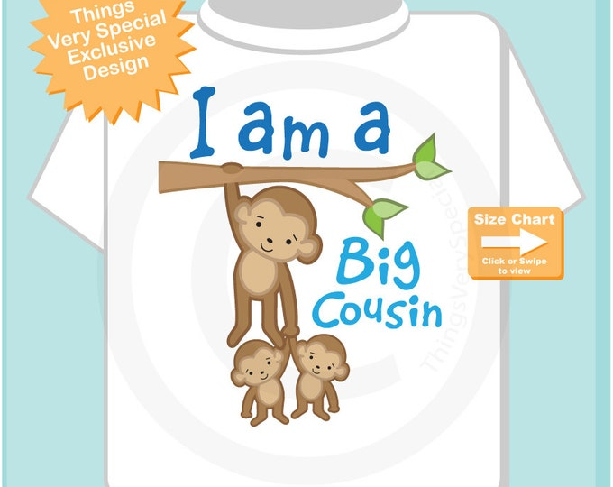 Boy's I Am a Big Cousin of Twins Shirt or Onesie with twin babies, Personalized 11122014e