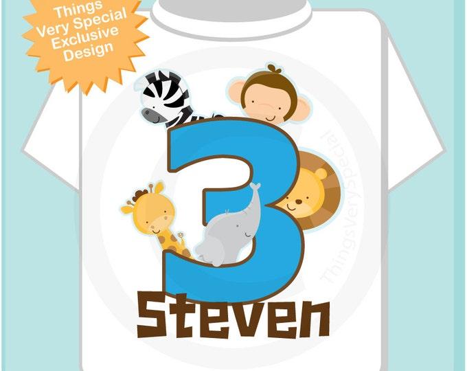 Boy's Three Year Old Jungle Birthday Shirt with Name, Third Birthday Shirt, Personalized Jungle Birthday Theme (03062013a)